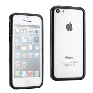 Gearonic Black Hybrid TPU Glossy Frame Bumper Case Cover For iPhone 5C
