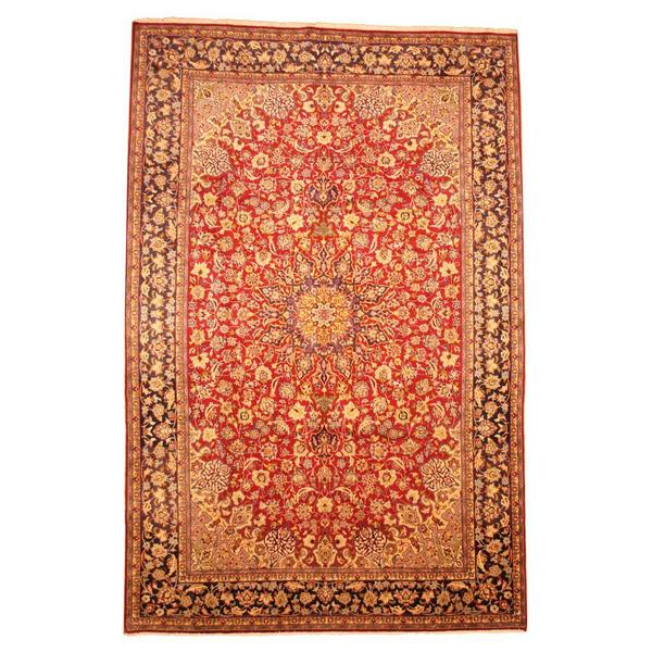 Herat Oriental Persian Hand-knotted Isfahan Wool Rug (9'5 x 14'5) - 9'5 x 14'5