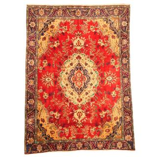 Herat Oriental Persian Hand-knotted Tabriz Red/ Navy Wool Rug (9' x 12'7)