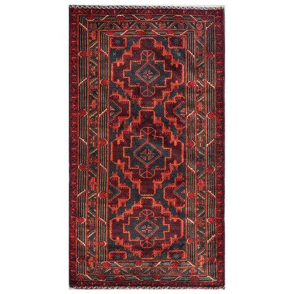 shop herat oriental afghan hand knotted tribal balouchi pink navy wool area rug 3 39 9 x 6 39 10. Black Bedroom Furniture Sets. Home Design Ideas