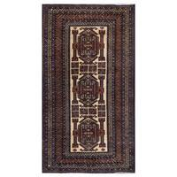 Herat Oriental Afghan Hand-knotted Tribal Balouchi Wool Area Rug (3'10 x 6'10) - 3'10 x 6'10