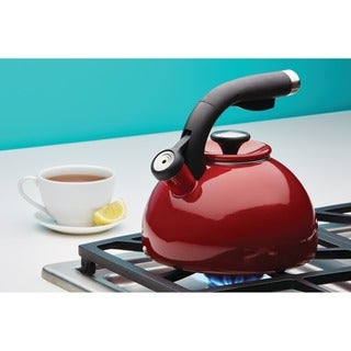 Circulon 2-quart Rhubarb Red Morning Bird Teakettle