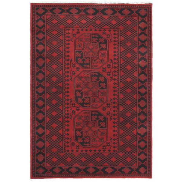 Hand-knotted Zara Red Wool Rug - 4'1 x 6'