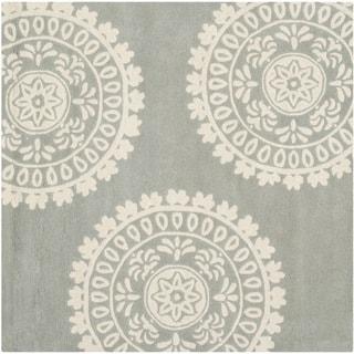 Safavieh Handmade Bella Grey/ Ivory Wool Rug (5' Square)