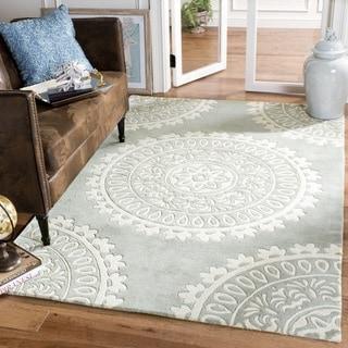 Safavieh Handmade Bella Grey/ Ivory Wool Rug (5' x 8')