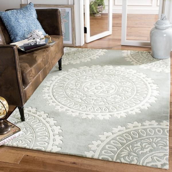 Safavieh Handmade Bella Grey/ Ivory Wool Rug - 6' x 9'