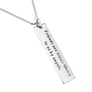 'Friends are kisses blown to us by angels' .925 Silver Necklace (Thailand)