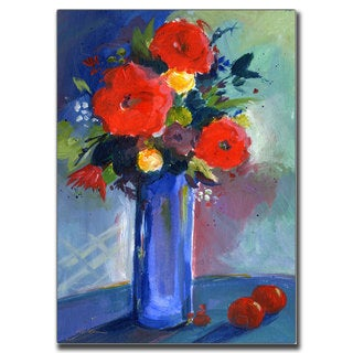 Sheila Golden 'Red Flowers' Canvas Art