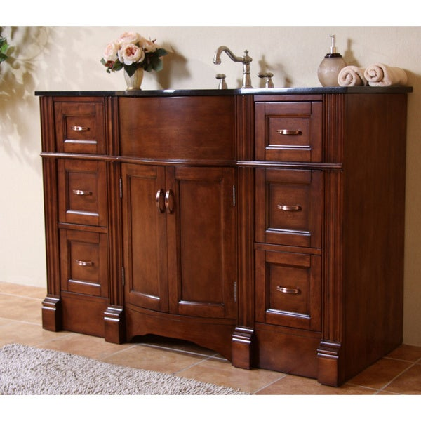 Shop natural granite top 48 inch light walnut single sink bathroom vanity free shipping today for 48 inch bathroom vanity light