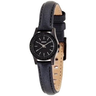 DKNY Women's NY8697 Black Leather Analog Quartz Watch