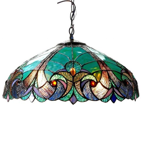 Copper Grove Cardinham Tiffany Style Victorian Design 2-light Pendant