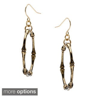 Alexa Starr Burnished Silver Bamboo Hoop Drop Earrings