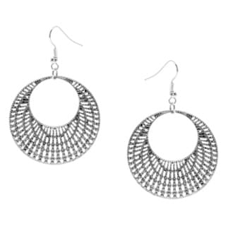 Alexa Starr Burnished Silvertone Texturized Drop Earrings