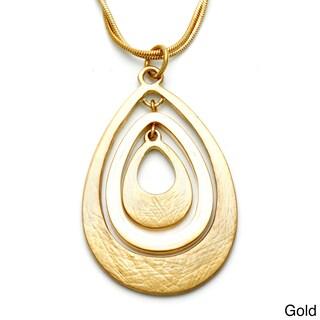 Alexa Starr Goldtone or Silvertone Etched Teardrop Necklace
