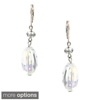 ALexa Starr Silvertone Large Faceted Glass Oval Drop Earring
