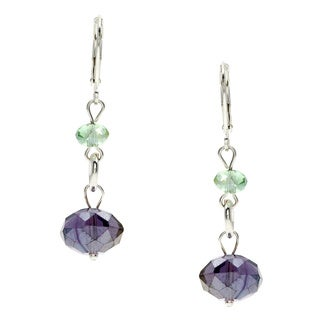 Alexa Starr Silvertone Crystal Drop Link Earrings