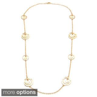 Alexa Starr Long Chain Necklace with Hammered Ring Stations with Rhinestones