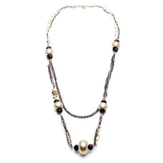 Alexa Starr Goldtone and Hematite-colored Black Glass Station Necklace