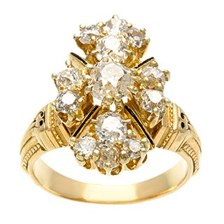 Pre-owned 18k Yellow Gold 1 1/2ct TDW Diamond Estate Cluster Ring (H-I, SI1-SI2)|https://ak1.ostkcdn.com/images/products/8394165/P15696320.jpg?_ostk_perf_=percv&impolicy=medium