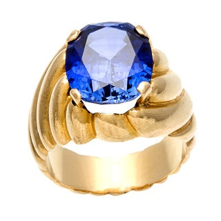 Pre-owned 18k Yellow Gold Oval-cut Synthetic Sapphire Estate Ring
