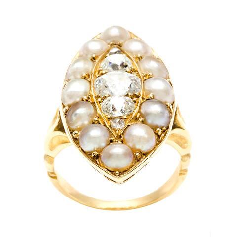 18k Yellow Gold 1ct TDW Diamond and Pearl Estate Ring (F-G, VS1-VS2)