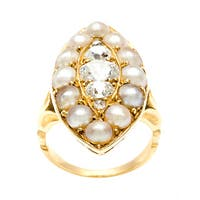 Pre-owned 18k Yellow Gold 1ct TDW Diamond and Pearl Estate Ring (F-G, VS1-VS2)
