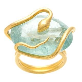 Pre-owned 23k Yellow Gold Aquamarine Snake Estate Ring
