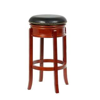 Bristol Bi-cast Leather and Wood Swivel Counter Stool