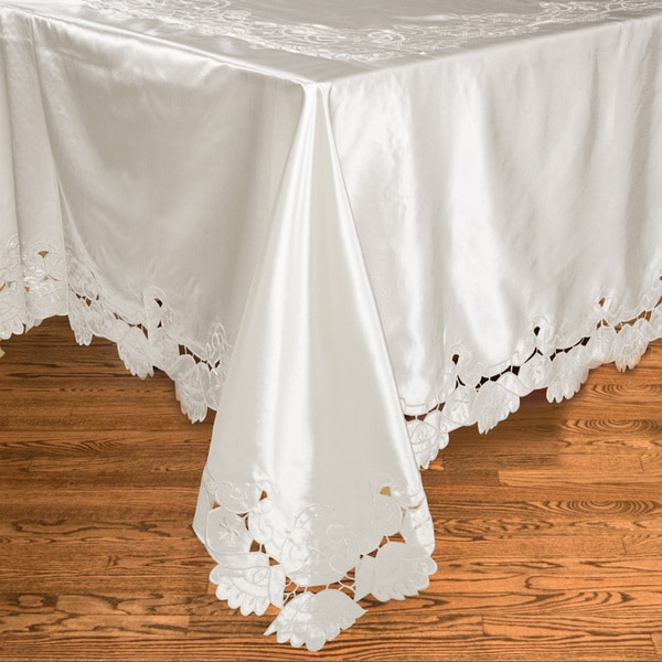 White Oblong Embroidered Tablecloth 70 X 126 Inches