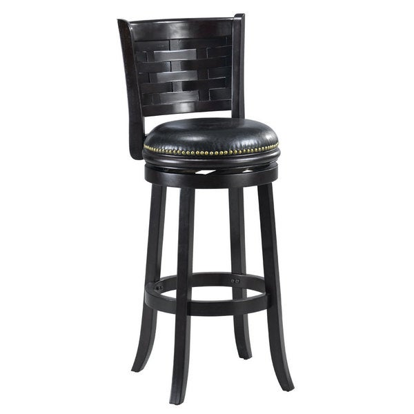 black leather bar stools with back shop black bi cast leather woven back swivel 9303