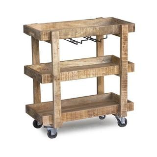 Handmade Timbergirl Reclaimed Wood Wheeled Bar and Drink Cart (India)