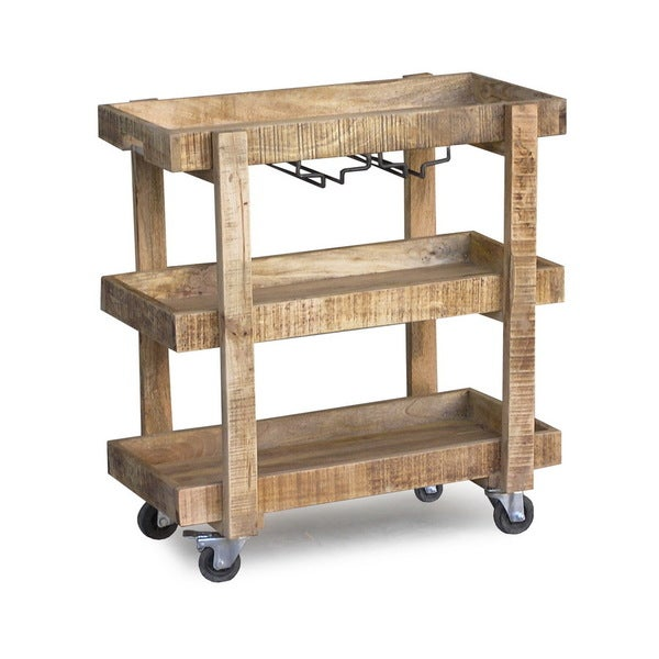 Handmade Timbergirl Reclaimed Wood Wheeled Bar And Drink Cart (India)