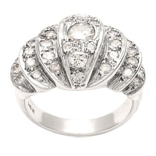 Pre-owned 14k White Gold 1 1/5ct TDW Diamond Estate Cocktail Ring (H-I, SI1-SI2)