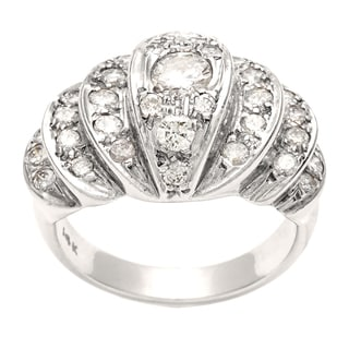 Pre-owned 14k White Gold 1 1/5ct TDW Diamond Estate Cocktail Ring (H-I, SI1-SI2)