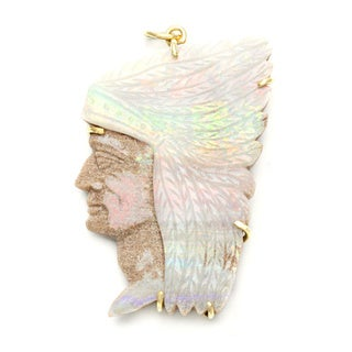 Pre-owned 14k Yellow Gold Carved Opal American Indian Estate Pendant