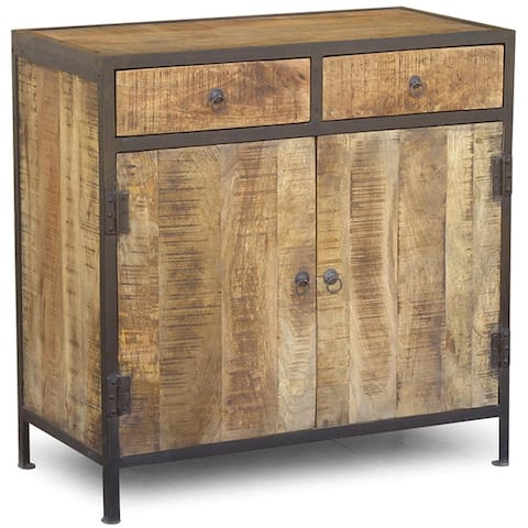 Handmade Industrial Reclaimed Wood and Iron Sideboard Cabinet (India)