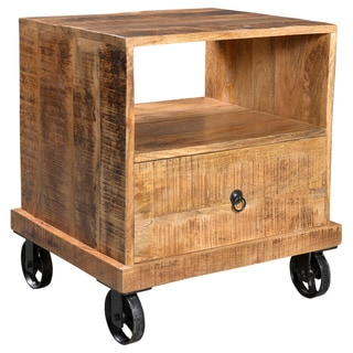 Timbergirl Industrial Reclaimed Wood and Iron Wheeled End Table (India)
