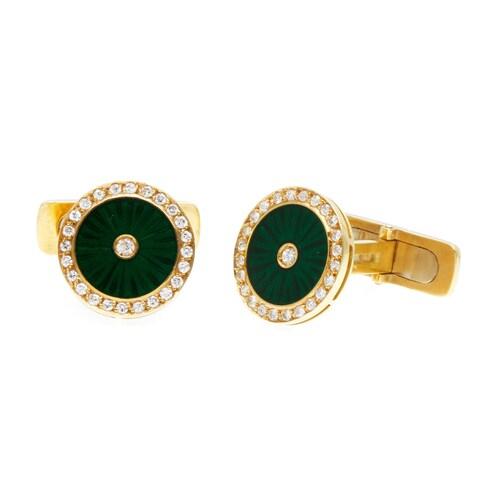 Pre-owned 18k Gold 1ct TDW Diamond Italian Enameled Estate Jewelry Set (I-J, VS1-VSI2)