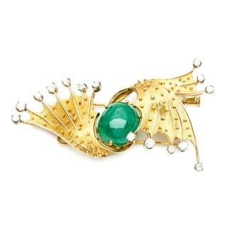 Pre-owned 18k Gold Emerald and 1 1/3ct TDW Diamond Estate Brooch (E-F, SI1-SI2)