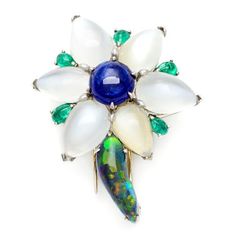 Pre-owned Platinum Sapphire and Multi-gemstone Estate Flower Brooch