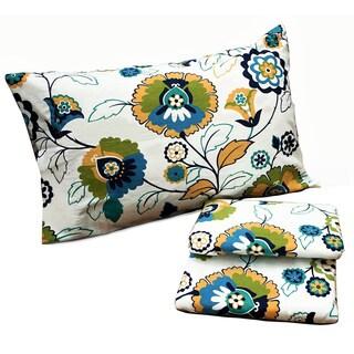 Tribeca Living Modern Floral Printed Extra Deep Pocket Flannel Sheet Set