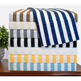 Superior 600 Thread Count Deep Pocket Cabana Stripe Cotton Blend Sheet Set