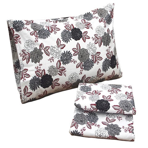 Tribeca Living Dahlia Floral Printed Deep Pocket Flannel Sheet Set