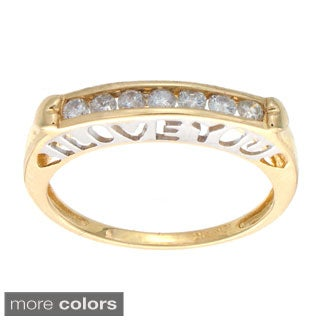 Victoria Kay 10k White or Yellow Gold 1/4ct TDW Diamond 'I LOVE YOU' Ring (H-I, I2)