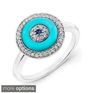 Victoria Kay 14k Rose Gold 1/6ct TDW Evil Eye Sapphire and Diamond Ring (I-J, I1-I2)
