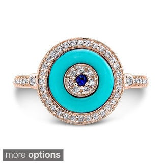 Victoria Kay 14k White Gold 1/4ct TDW Evil Eye Sapphire and Diamond Ring (I-J, I1-I2)