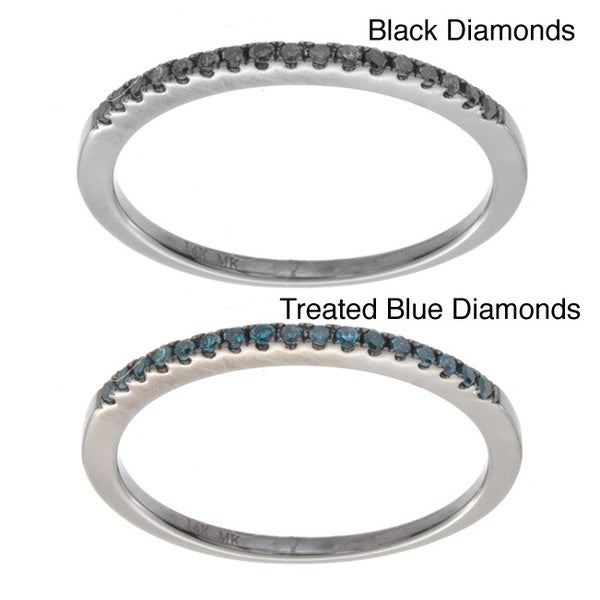8a457f7e2 Victoria Kay 14k White Gold 1/10ct TDW Stackable Black or Blue Diamond Ring