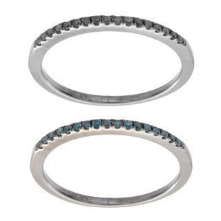 Victoria Kay 14k White Gold 1/10ct TDW Stackable Black or Blue Diamond Ring