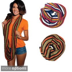 Hand-knit Boho Multicolored Infinity Scarf (Nepal)