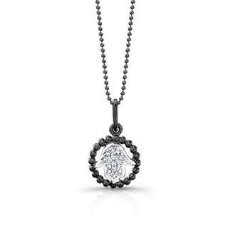 Victoria Kay Sterling Silver Black and White Diamond-accent Hamsa Necklace (J-K, I2-I3)
